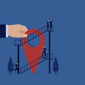 Os negócios percorrem as escadas para a pesquisa superior, melhor metáfora do local em que nos mudamos.