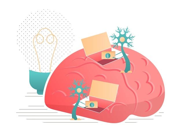 Os neurônios transmitem informações para a ilustração do cérebro.