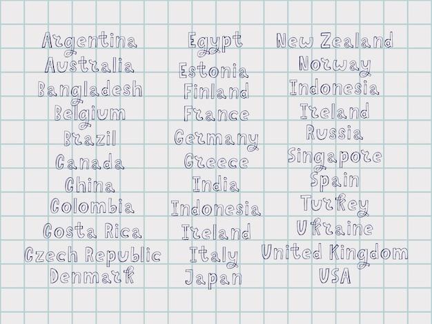 Os nomes dos países do mundo. países europeus. letra manuscrita.