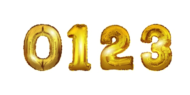 Os números de ouro 0,1,2,3 balões.