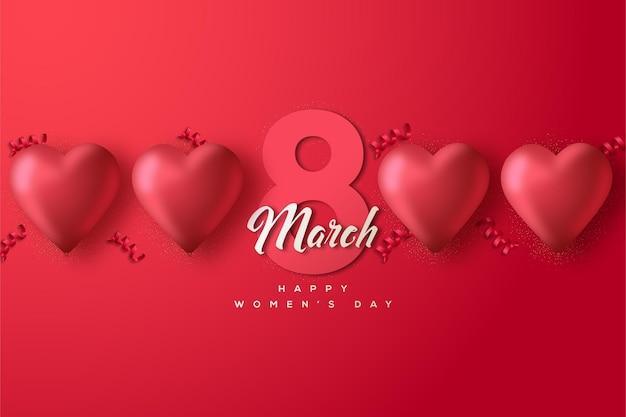 Os números e o fundo são vermelhos para o dia da mulher em 8 de março
