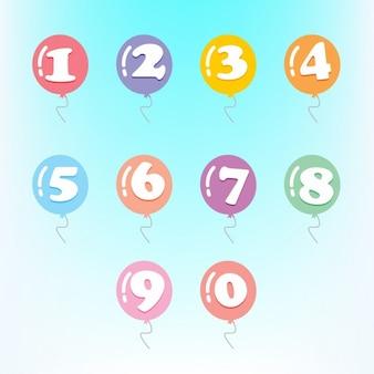 Os números em balões coloridos