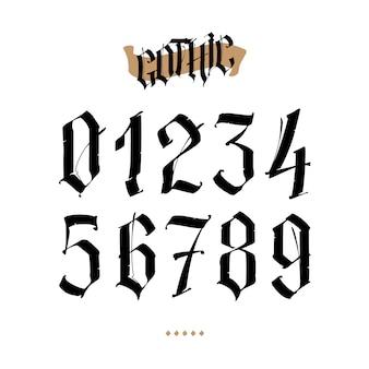 Os números estão no estilo gótico