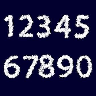 Os números. trabalhada com flocos de neve brancos. sobre um fundo azul escuro. projeto de natal. ilustração vetorial.