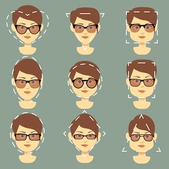 Os óculos de sol diferentes apropriados para mulheres diferentes caras enfrentam o vetor infographic. óculos para prot