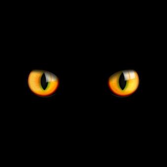 Os olhos de gato 3d bonitos realísticos olham no escuro em um preto