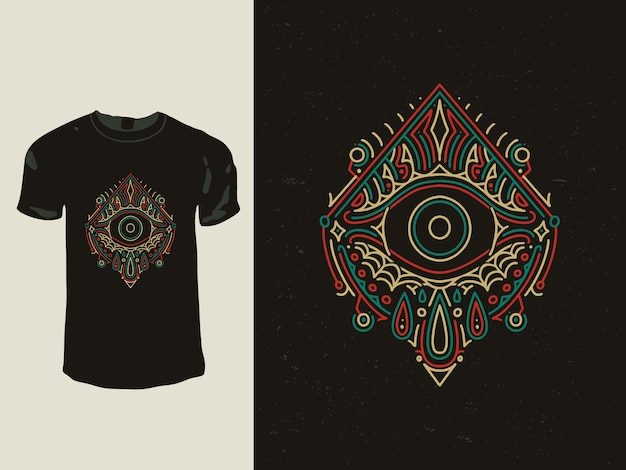Os olhos geometria monoline design de t-shirt