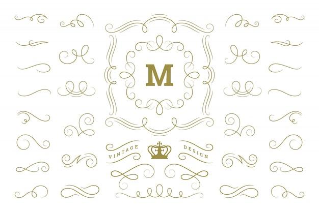 Os ornamento projetam elementos redemoinhos dos ornamento do vintage e os elementos ornamentados do vetor das decorações dos rolos.