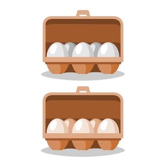 Os ovos estão em uma caixa de papel.