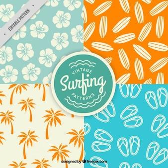 Os padrões de elementos de surf embalar