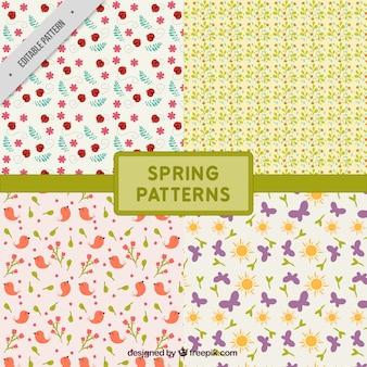 Os padrões de elementos decorativos primavera