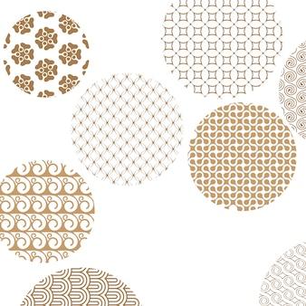 Os padrões geométricos de ouro formaram círculos em branco com máscara de recorte