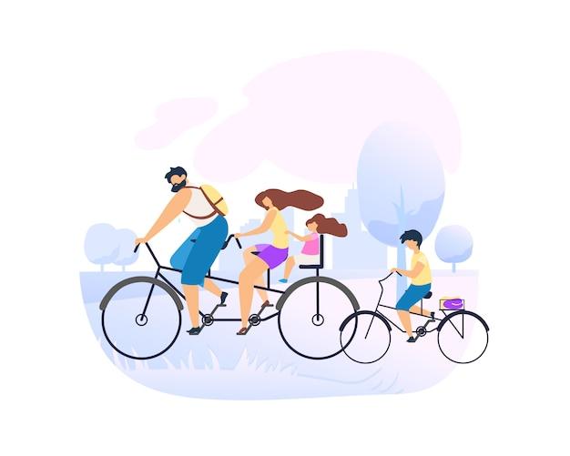 Os pais andam de bicicleta em tandem com a filha pequena.