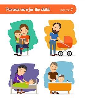 Os pais cuidam da criança.