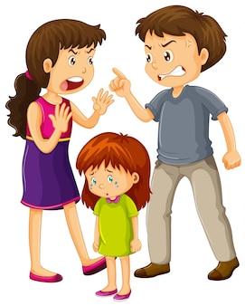 Os pais discutem e a menina chora