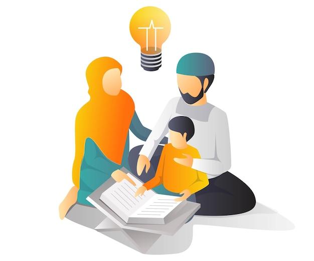 Os pais estão ensinando os filhos a aprender a ler o livro sagrado