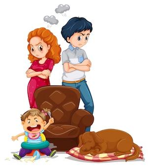 Os pais ficam bravos com a criança fazendo bagunça