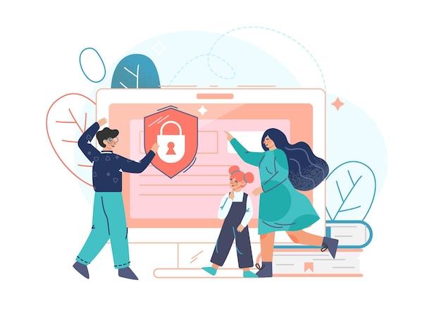 Os pais usam um software de controle parental para restringir o acesso de crianças