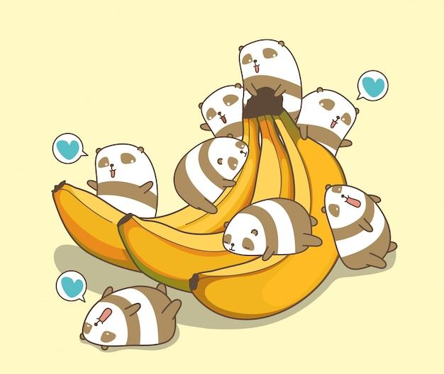 Os pandas kawaii adoram banana
