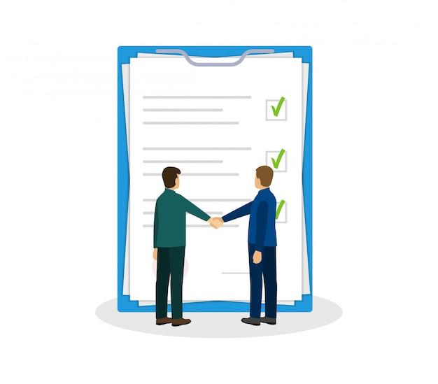 Os parceiros apertam as mãos. documentos de documentos. acordo e contrato. design plano.