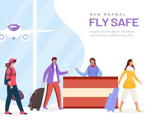 Os passageiros usam máscaras de proteção em frente à recepção do aeroporto