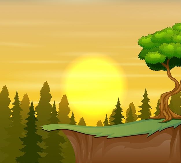 Os penhascos da montanha com a paisagem do sol