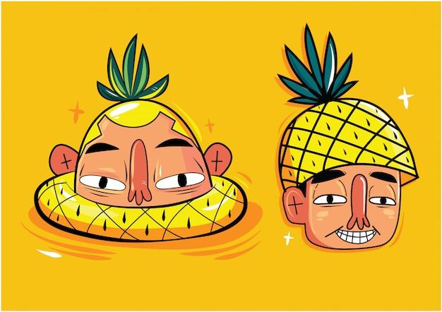Os personagens de homens com anel de natação de abacaxi e chapéu