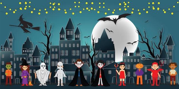 Os personagens do festival na noite escura halloween.