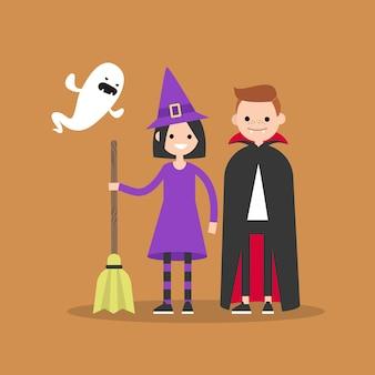 Os personagens estão usando fantasias festivas para o halloween