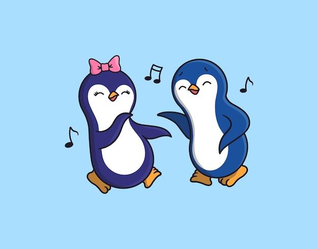 Os pinguins, menino e menina, estão dançando e ouvindo música.