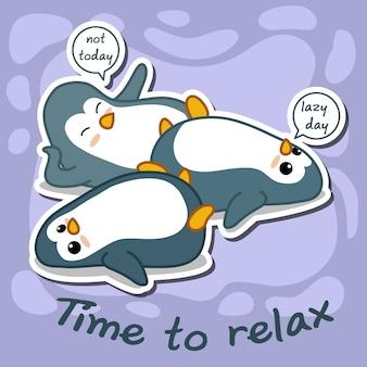 Os pinguins são preguiçosos. hora de relaxar