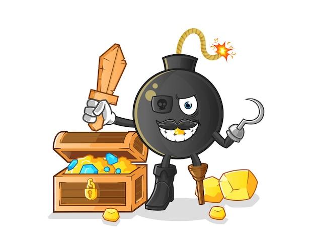 Os piratas da bomba. mascote dos desenhos animados