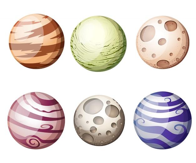 Os planetas coloridos da fantasia dos desenhos animados ajustaram-se no fundo do espaço, ilustração.