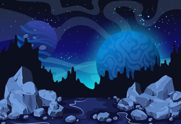 Os planetas surgem com crateras, estrelas e cometas no espaço escuro. fundo do espaço dos desenhos animados