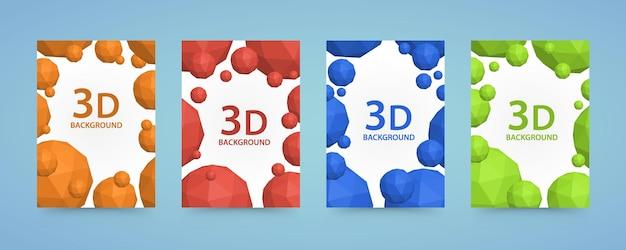 Os polígonos de bolas 3d do folheto cobrem a arte colorida. ilustração vetorial