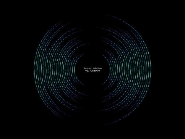 Os pontos circundam a linha teste padrão de cores verdes e azuis do equalizador abstrato da onda sadia no fundo preto no conceito da música, tecnologia.