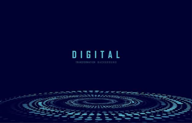 Os pontos geométricos de tecnologia abstrata rodam o modelo de design digital. fundo de linhas redondas.