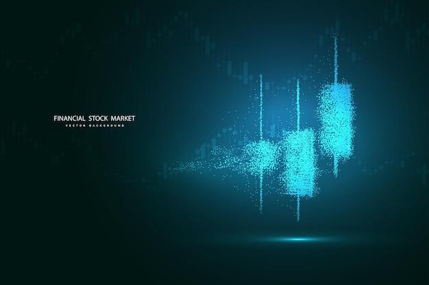 Os pontos são conectados e criam um sinal de velas do mercado de ações. gráfico de negociação da forex para conceitos de negócios e financeiros, relatórios e investimentos em fundo escuro. ilustração vetorial