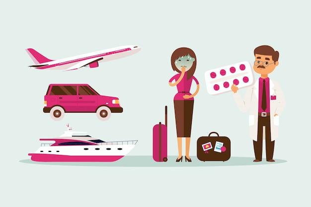 Os povos causam doença ao viajar na ilustração do transporte. menina pálida com bagagem perto de carro, avião e iate, náusea.