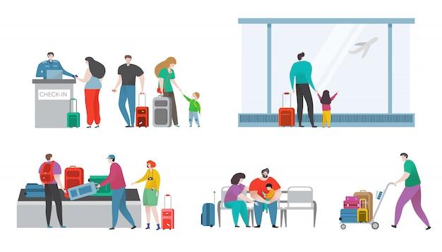 Os povos com os sacos no terminal de aeroporto confortável da aviação viajam a ilustração tirada mão isolada.