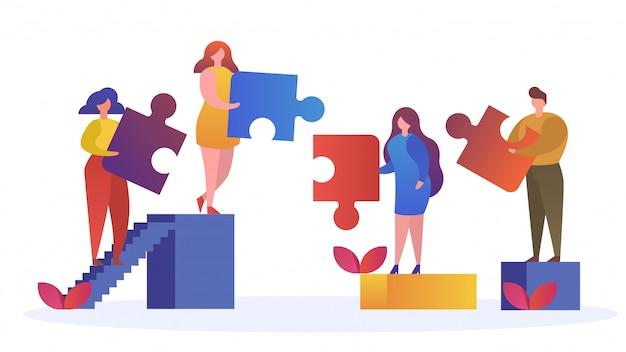 Os povos conectam elementos do enigma, símbolo do trabalho em equipe bem sucedido, conceito do negócio, ilustração.