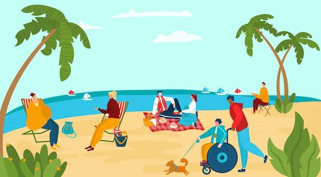 Os povos do caráter relaxam a costa do mar, cão de passeio deficiente fêmea masculino, ilustração humana da praia do oceano do resto do grupo. Vetor Premium