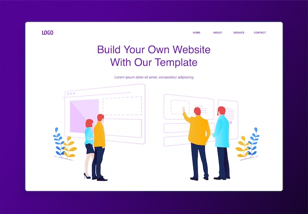 Os povos do conceito da ilustração que constroem o web site, enchendo o com o índice, fazendo ajustes colocam.