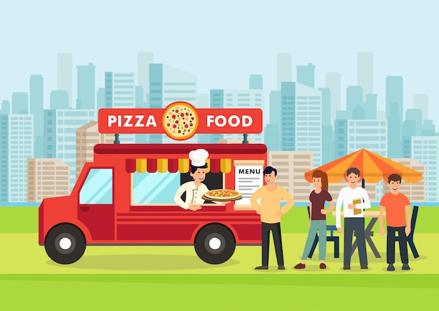 Os povos dos desenhos animados estão na linha perto do vagon da pizza.