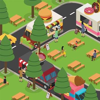 Os povos estão aproveitando seu tempo enquanto comem no festival de comida