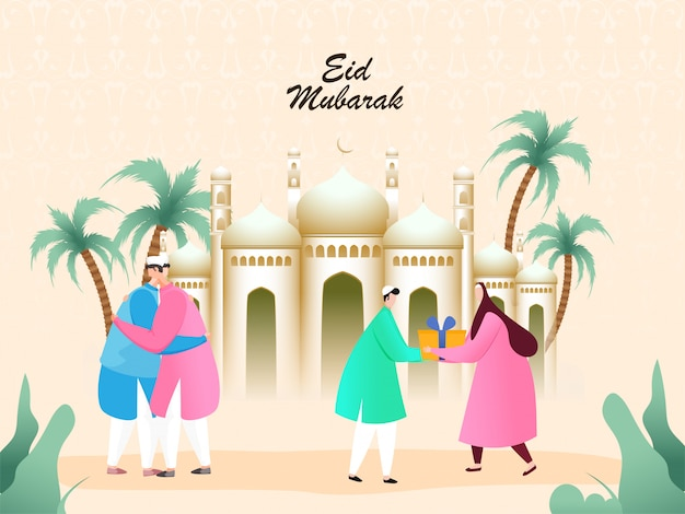 Os povos muçulmanos dão caixa de presente com abraço juntos na frente da mesquita dourada por ocasião do eid mubarak.
