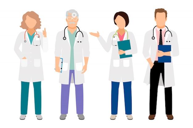 Os povos nos revestimentos brancos vector a ilustração. corpo inteiro, ficar, médico masculino, e, femininas, médico, isolado, para, laboratório, ilustração