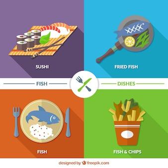Os pratos de peixe