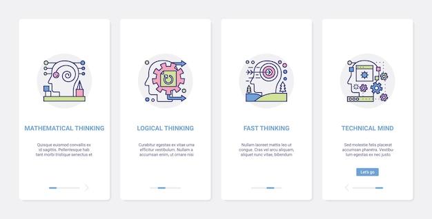 Os processos mentais alinham o pensamento lógico ux ui onboarding aplicativo móvel conjunto de tela da página