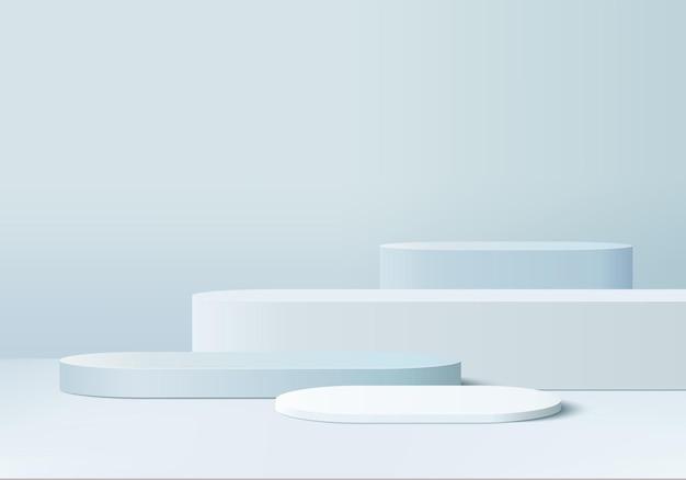 Os produtos 3d exibem a cena do pódio com a plataforma geométrica da forma.